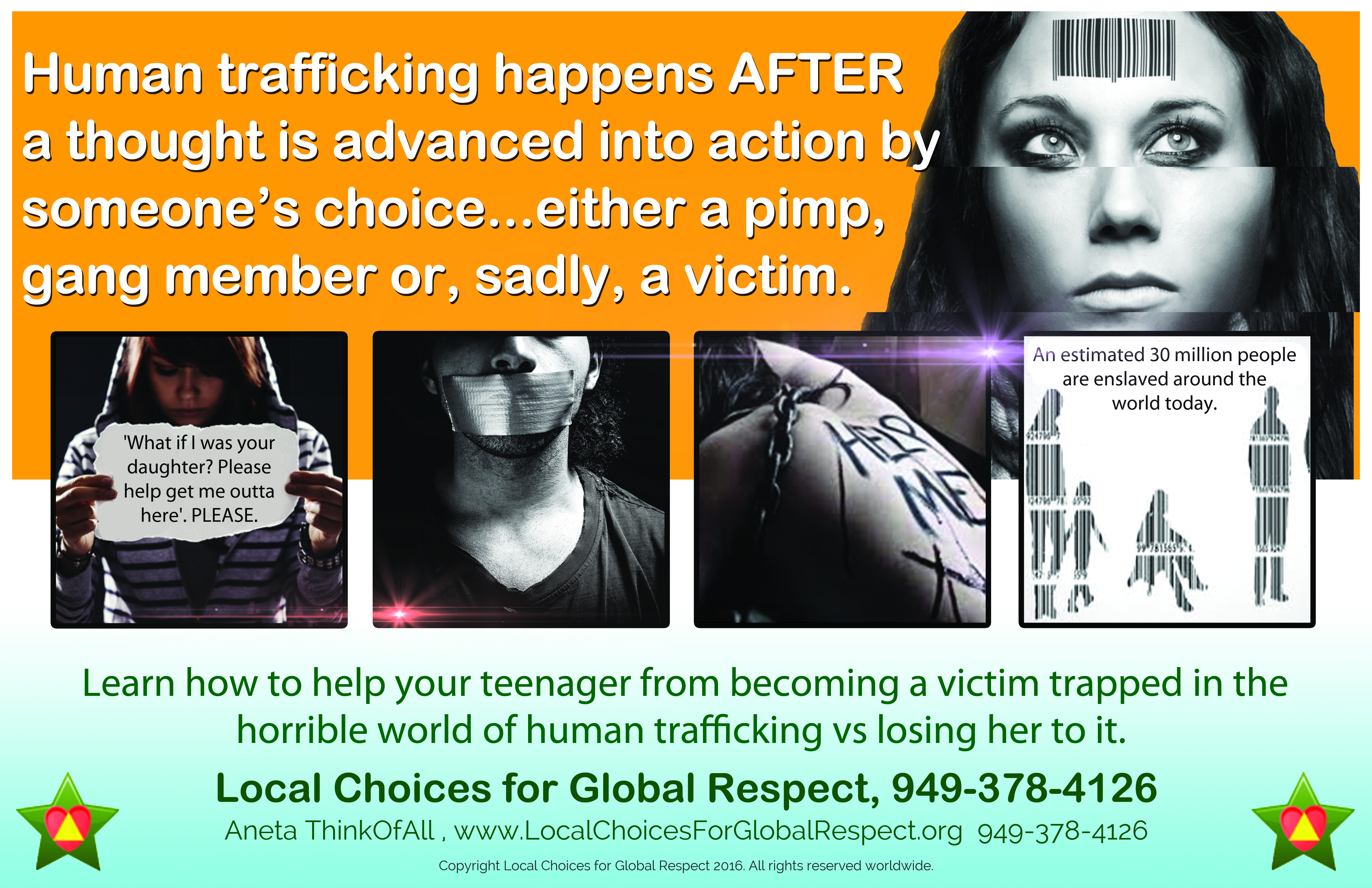 Human Trafficking Poster - Local Choices for Global Respect